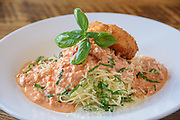The Angel Hair Pasta, with roasted tomato, fresh basil and fried Capriole goat cheese at Somewhere restaurant at 1135 Bardstown Road, next to Nowhere bar. July 26, 2016