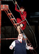 The Threepenny Opera <br /> by Bertolt Brecht and Kurt Weill<br /> In a new adaptation by Simon Stephens<br /> directed by Rufus Norris, at the Olivier Theatre, National Theatre, Southbank, London, Great Britain <br /> 25th May 2016  <br /> <br /> <br /> <br /> Haydn Gwynne as Mrs Peachum<br /> <br /> Nick Holder as Mr Peachum <br /> <br />  <br />  <br /> <br />  <br /> <br /> Photograph by Elliott Franks <br /> Image licensed to Elliott Franks Photography Services