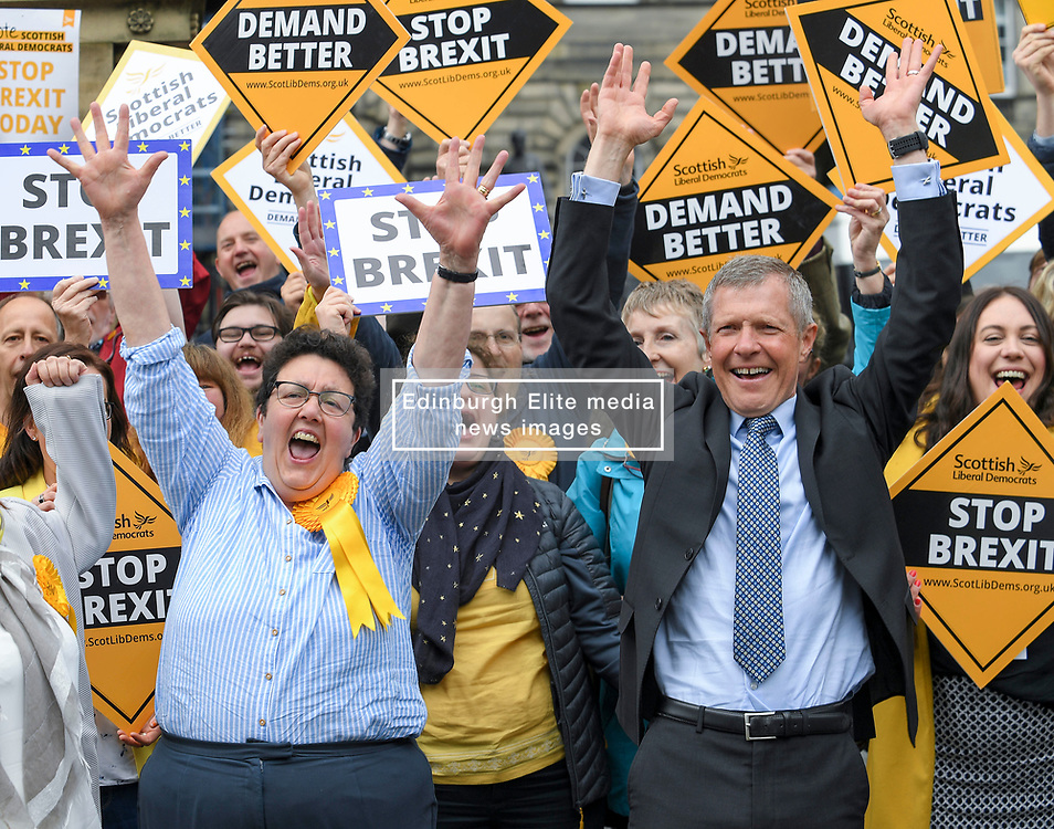 Pictured: New Lib Dem MEP Sheila Ritchie celebrates with activists and leader Willie Rennie.<br /> <br /> Scotland's results in the European elections were announced at the City Chambers in Edinburgh.<br /> <br /> © Dave Johnston / EEm