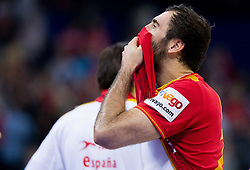 Joan Canellas of Spain looks dejected after the handball match between Croatia and Spain for 3rd place game at 10th EHF European Handball Championship Serbia 2012, on January 29, 2012 in Beogradska Arena, Belgrade, Serbia.  Croatia defeated Spain 31-27 and won 3rd place. (Photo By Vid Ponikvar / Sportida.com)