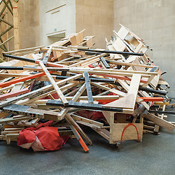 Tate Britain unveils the new work by Phyllida Barlow entitled 'dock'. Phyllida Barlow has worked with everyday materials to create large sculptural installations and colourful three-dimensional collages.