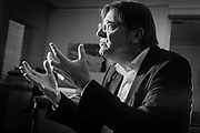 Brussels Belgium  february 8 2017. Euroscepticist Guy Verhofstadt photographed in his office in the European Parliament, on the launch of his book Europe's last Chance, for an interview with Welt am Sonntag. Black and white pictures