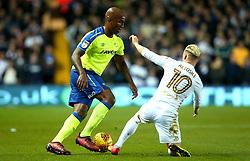 Andre Wisdom of Derby County takes on Ezgjan Alioski of Leeds United - Mandatory by-line: Robbie Stephenson/JMP - 31/10/2017 - FOOTBALL - Elland Road - Leeds, England - Leeds United v Derby County - Sky Bet Championship