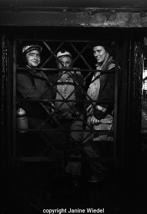 Coal miners inside the cage on shift at Florence Colliery outside Stoke-on-Trent North Staffordshire, The West Midlands England 1977