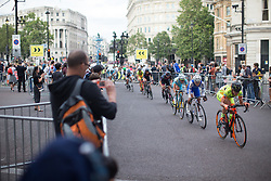 Alicia Arzuffi (ITA) of Lensworld Zannata Cycling Team ups the pace in the last few hundred meters of the penultimate lap of the Prudential RideLondon Classique, a 66 km road race in London on July 30, 2016 in the United Kingdom.