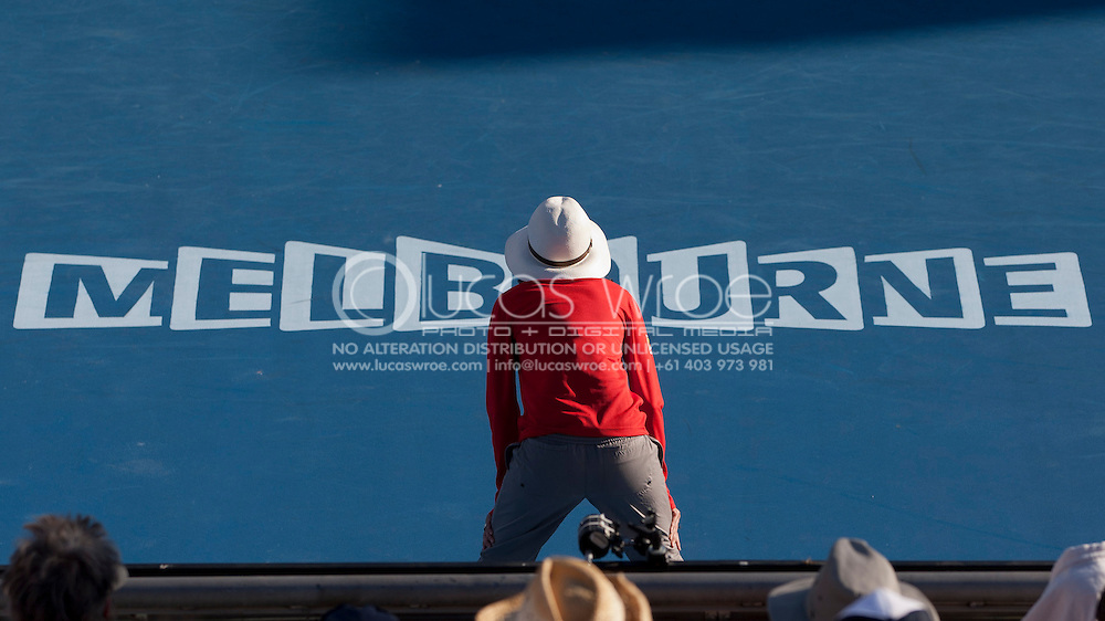 Line Umpire. 2012 Australian Open Tennis. Mens Singles. Second Round. Margaret Court Arena, Melbourne and Olympic Parks, Melbourne, Victoria, Australia. 19/01/2012. Photo By Lucas Wroe