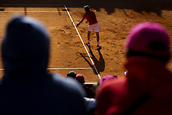 May 3, 2018 - Estoril, Portugal - Stefanos Tsitsipas from Greece serves to Kevin Anderson from South Africa during the Millennium Estoril Open tennis tournament in Estoril, outskirts of Lisbon, Portugal on May 1, 2018  (Credit Image: © Carlos Costa/NurPhoto via ZUMA Press)