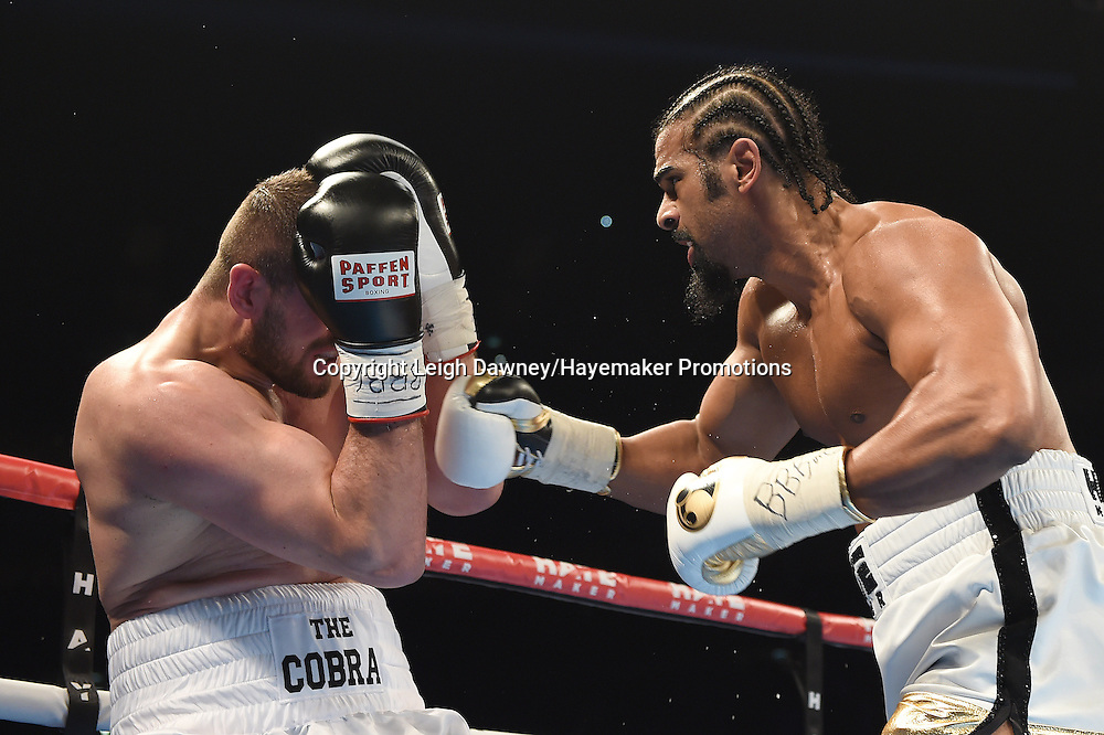 David Haye forces Arnold Gjergjaj against the ropes during a heavyweight contest at the 02 Arena, London on the 21st May 2016. Photo credit: Leigh Dawney/Hayemaker Promotions