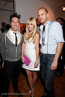 "Brian Wolk, Tinsley Mortimer and Claude Morais attends the opening of ""Lady"" by Douglas Friedman at the Ruffian Gallery on April 23, 2009 in New York City."