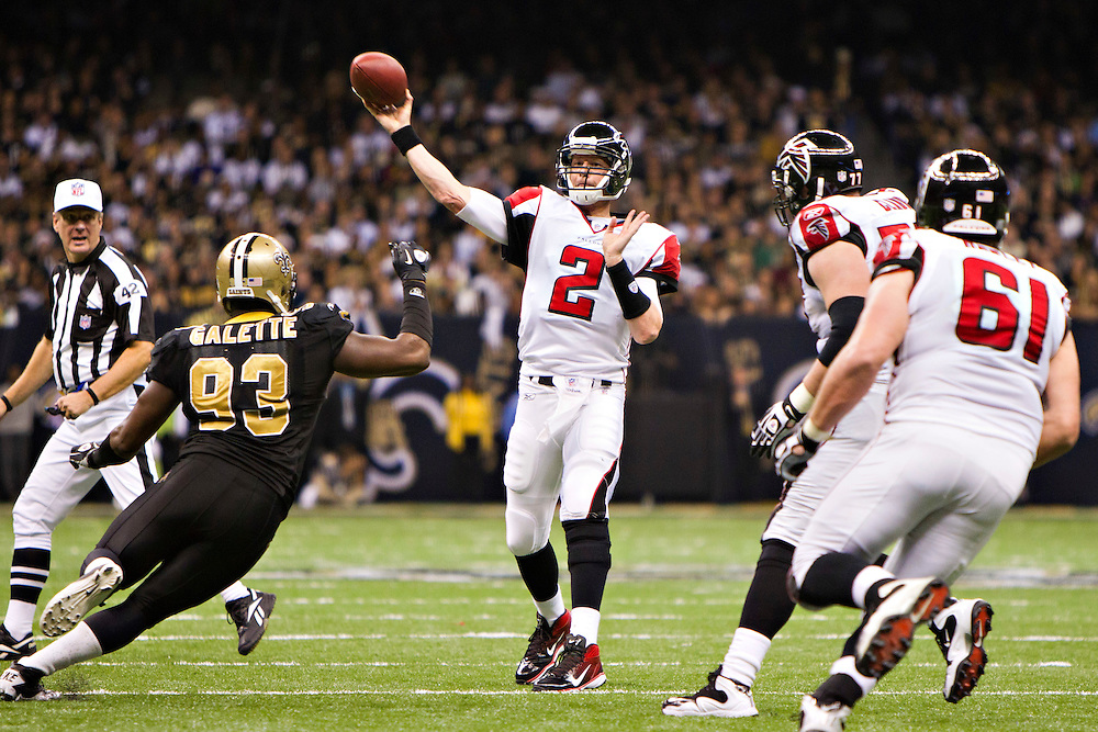 NEW ORLEANS, LA - DECEMBER 26:   Matt Ryan #2 of the Atlanta Falcons throws a pass against the New Orleans Saints at Mercedes-Benz Superdome on December 26, 2011 in New Orleans, Louisiana.  The Saints defeated the Falcons 45-16.  (Photo by Wesley Hitt/Getty Images) *** Local Caption *** Matt Ryan