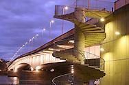 DEU, Germany, Cologne, the Deutzer bridge across the river Rhine, spiral staircase.....DEU, Deutschland, Koeln, die Deutzer Bruecke ueber den Rhein, Wendeltreppe zur Bruecke...