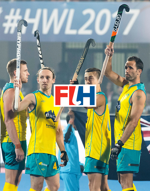 BHUBANESWAR - The Odisha Men's Hockey World League Final . Match ID 02. Australia v India. Jake Harvie (Aus) , Lachlan Sharp (Aus) and Mark Knowles (Aus) .WORLDSPORTPICS COPYRIGHT  KOEN SUYK