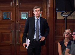 © Licensed to London News Pictures. 14/04/2016. London, UK. Seumas Milne advisor to Jeremy Corbyn   attends a speech by the leader of the Labour Party, arguing the case for Britain remaining in Europe, at Senate House in London. The Uk is due to vote in and in out referendum in their membership of the EU on June 23rd, 2016.  Photo credit: Ben Cawthra/LNP