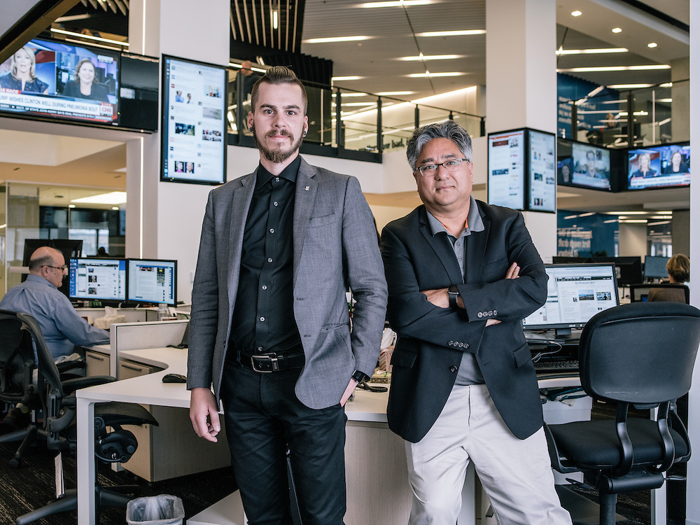 Joey Marburger, director of product and Shailesh Prakash, CIO & VP, digital product development at The Washington Post in the Post's new offices in Washington, D.C. on Sept. 12, 2016.