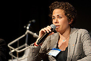 """Caroline Samponaro, Director of Bicycle Advocacy, TA participates on a panel discussion entitled, """"If Not the Auto, the Bike?"""" at Manhattan Chamber of Commerce's Transportation Transformation Global Summit at NYIT in New York on April 26, 2012."""