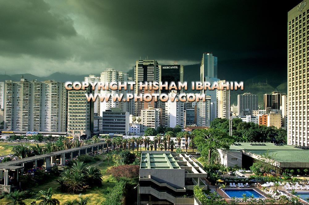 Caracas Downtown District and Skyline with dramatic sky - Caracas, Venezuela