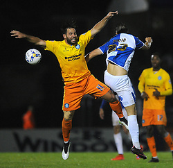 Billy Bodin of Bristol Rovers challenges for the header with Sam Wood of Wycombe Wanderers - Mandatory byline: Dougie Allward/JMP - 07966 386802 - 06/10/2015 - FOOTBALL - Memorial Stadium - Bristol, England - Bristol Rovers v Wycombe Wanderers - JPT Trophy