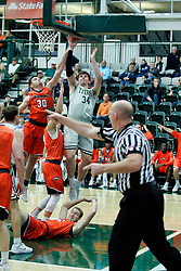 BLOOMINGTON, IL - December 15: Alex O'Neill during a college basketball game between the IWU Titans  and the Carroll Pioneers on December 15 2018 at Shirk Center in Bloomington, IL. (Photo by Alan Look)