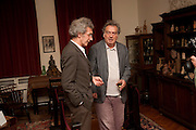 MICHAEL MOLNAC; STEPHEN FREARS, Freud Museum dinner, Maresfield Gardens. 16 June 2011. <br /> <br />  , -DO NOT ARCHIVE-© Copyright Photograph by Dafydd Jones. 248 Clapham Rd. London SW9 0PZ. Tel 0207 820 0771. www.dafjones.com.