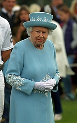 Queen Elizabeth II seen at the Cartier Trophy at the Guards Polo Club, Windsor Great Park, Surrey.
