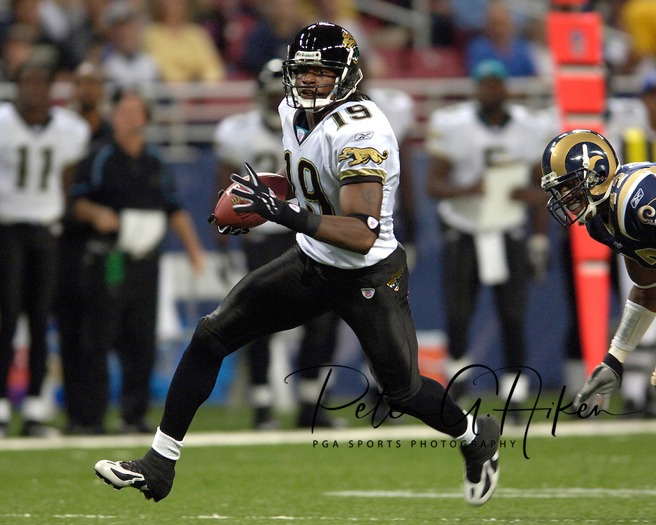 Jacksonville Jaguars wide receiver Ernest Wilford (19) brakes down the middle of the field for 28-yards against St. Louis in the second quarter at the Edward Jones Dome in St. Louis, Missouri, October 30, 2005.  The Rams beat the Jaguars 24-21.