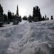 The hike towards untracked powder in the backcountry of the Tetons near Jackson Hole Mountain Resort, Teton Village, Wyoming.