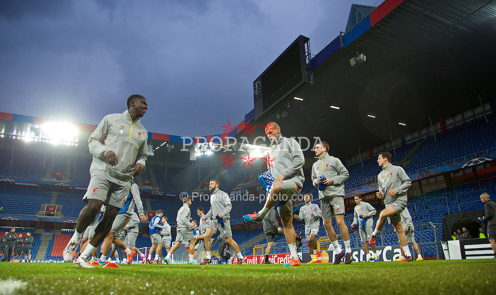 BASEL, SWITZERLAND - Tuesday, September 30, 2014: Liverpool's Kolo Toure, Martin Skrtel, Jordan Rossiter and Jordan Williams during a training session at the St. Jakob Stadium ahead of the UEFA Champions League Group B match against FC Basel. (Pic by David Rawcliffe/Propaganda)