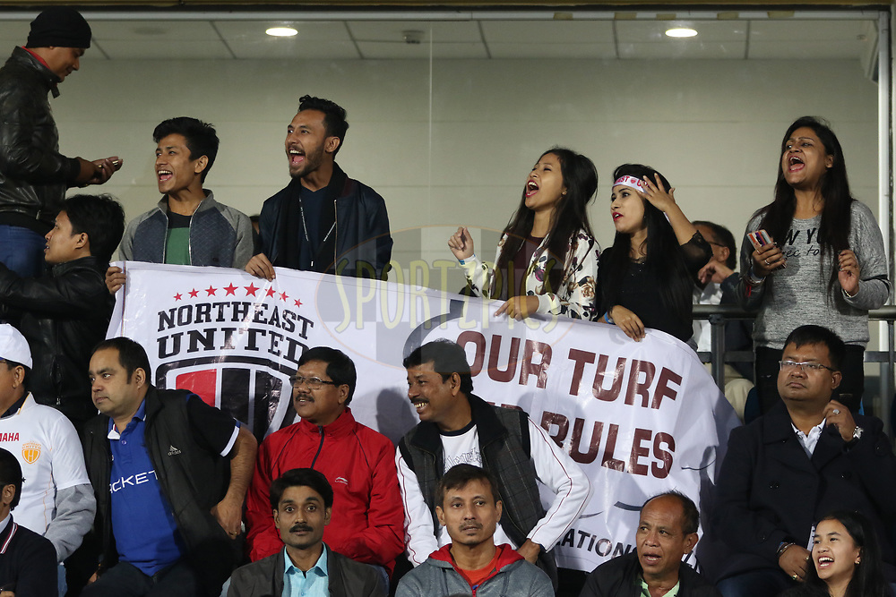Fans during match 19 of the Hero Indian Super League between NorthEast United FC and Bengaluru FC held at the Indira Gandhi Athletic Stadium, Guwahati India on the 8th December 2017<br /> <br /> Photo by: Saikat Das  / ISL / SPORTZPICS