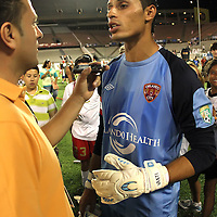 Orlando City Lions Goalkeeper Miguel Gallardo talks with the media after winning a United Soccer League Pro soccer match between the Richmond Kickers and the Orlando City Lions at the Florida Citrus Bowl on May 25, 2011 in Orlando, Florida.  (AP Photo/Alex Menendez)