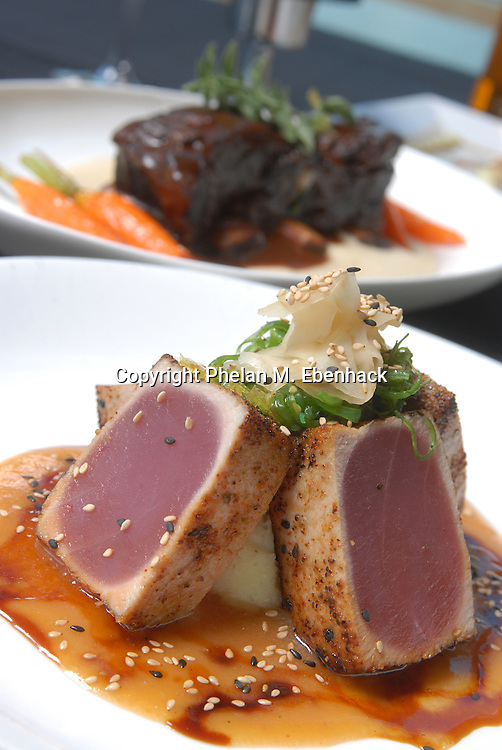 A plate of seared ahi tuna from a restaurant in Orlando, Florida.