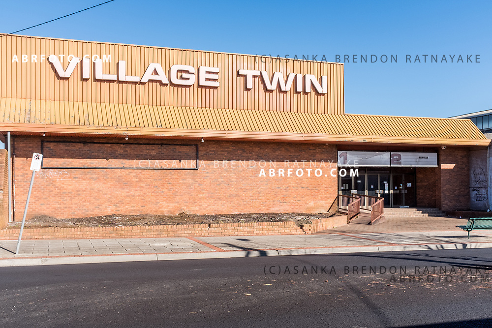 The abandoned derelict  former Twin Cinema on Buckley Street, Morwell in the la trobe valley in southern Victoria incorporating a 80's 90's modernist style with matching typography