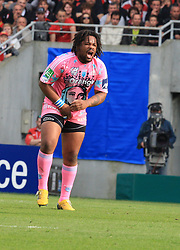 Mathieu Bastareaud reacts after receiving a blow in the groin during the Heineken Cup Quarter Final match between Stade Toulousain and Stade Francais at the Stade Municipal on April 11, 2010 in Toulouse, France.