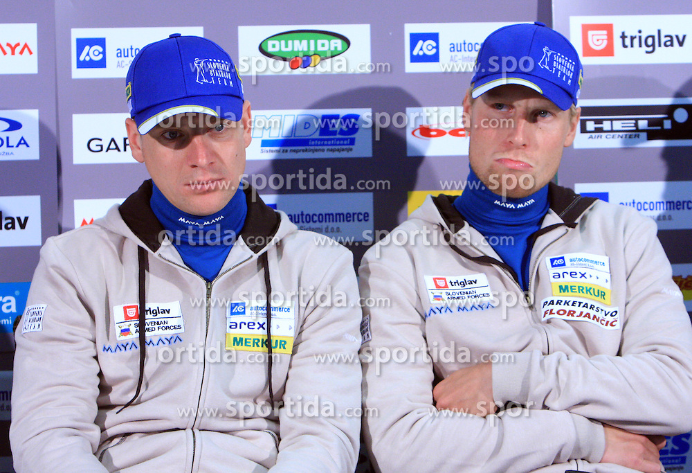 Janez Maric and Klemen Bauer at press conference of Slovenian Biathlon National Team before new season 2008/2009, on November 24, 2008 in Emporium, BTC, Ljubljana, Slovenia.  (Photo by Vid Ponikvar / Sportida)
