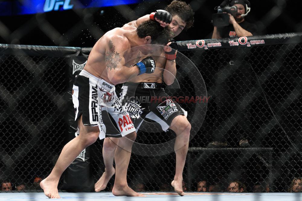 "LONDON, ENGLAND, FEBRUARY 21, 2009: Joe Stevenson (left) and Diego Sanchez during ""UFC 95: Sanchez vs. Stevenson"" inside the O2 Arena in Greenwich, London."