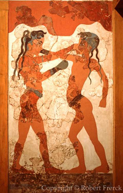 GREECE, MINOAN CULTURE Thera (Santorini): the famous wall fresco of two boys boxing found in the buried Minoan city of Akrotiri