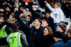 LONDON, ENGLAND - Monday, February 4, 2019: West Ham United supporter taunt the Liverpool fans after the FA Premier League match between West Ham United FC and Liverpool FC at the London Stadium. The game ended in a 1-1 draw. (Pic by David Rawcliffe/Propaganda)
