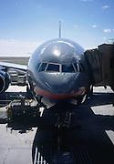 Boeing 777 airplane at gate