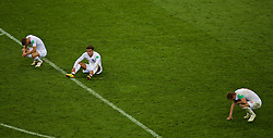 MOSCOW, RUSSIA - Wednesday, July 11, 2018: England's Jamie Vardy, Dele Alli and captain Harry Kane look dejected after losing 2-1 after extra-time during the FIFA World Cup Russia 2018 Semi-Final match between Croatia and England at the Luzhniki Stadium. (Pic by David Rawcliffe/Propaganda)