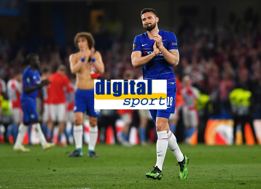 Football - 2018 / 2019 UEFA Europa League - Quarter-Final, Second Leg: Chelsea (1) vs. Slavia Prague (0)<br /> <br /> Chelsea's Olivier Giroud celebrates after their 4-3 victory, at Stamford Bridge.<br /> <br /> COLORSPORT/ASHLEY WESTERN