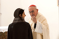 "ROME, ITALY -  DECEMBER 24:  Cardinal Pope's vicar for the Diocese of Rome, Agostino Vallini meets  Rome Mayor Virgina Raggi  during  Christmas Mass at the hostel ""Don Luigi Di Liegro"" to Termini Station, with the  guests of Caritas on December 24, 2016 in Rome, Italy. (Photo by Stefano Montesi/Corbis via Getty Images)"
