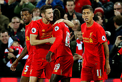 Adam Lallana of Liverpool celebrates after scoring his sides first goal  - Mandatory by-line: Matt McNulty/JMP - 11/12/2016 - FOOTBALL - Anfield - Liverpool, England - Liverpool v West Ham United - Premier League