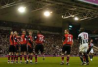 Photo. Glyn Thomas, Digitalsport<br /> West Bromwich Albion v Blackburn Rovers. <br /> Barclays Premiership. 26/04/2005.<br /> Blackburn's defence looks round in horror as Kieran Richardson's (R) free kick goes in for a goal.