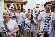 Bogota, Cundinamarca, Colombia - 23.09.2016        <br /> <br /> Protest march of students and university staff in Bogota for the peace agreement between the Colombian government and the FARC. On the 2nd October Colombia held a peace contract referendum. Should this be accept the 52 years long war between FARC and the Colombian government will end.<br /> <br /> Proteste von Studierenden und Universitaetsangestellten in Bogota fuer das Friedensabkommens zwischen der kolumbianischen Regierung und der FARC. Am 02. Oktober findet ein Volksentscheid ueber den Friedensvertrag. Sollte dieser Angenommen werden wuerde der 52-jahriger Krieg zwischen der FARC und der Regierung enden.<br />  <br /> Photo: Bjoern Kietzmann