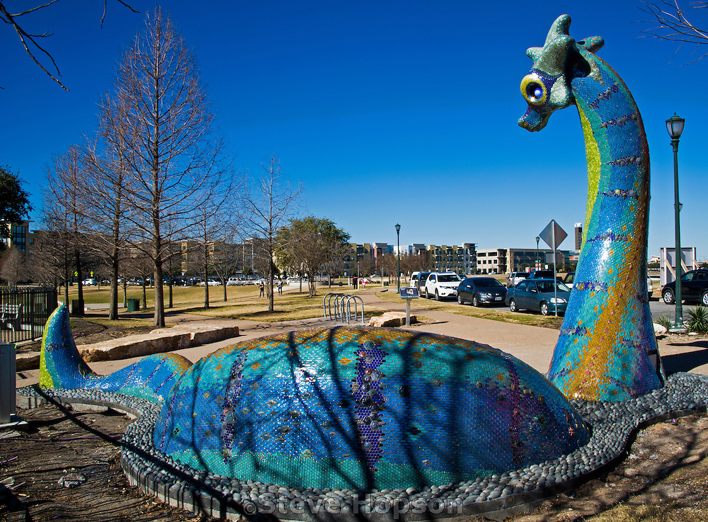 Nessy, the Loch Ness Monster sculpture by Dixie Friend Gay, Austin, Texas, January 27, 2015.