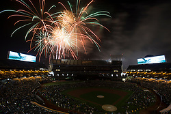 A fireworks display wows an Oakland Athletics baseball crowd following a Major League Baseball game between the A's and the Minnesota Twins, Saturday, July 29, 2017 in Oakland, Calif. (Photo by D. Ross Cameron)