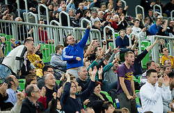 Fans of Union Olimpija during basketball match between KK Union Olimpija Ljubljana and KK Cibona Zagreb (CRO) in 11th Round of ABA League 2012/13 on December 2, 2012 in Arena Stozice, Ljubljana, Slovenia. Union Olimpija defeated Cibona 87-82. (Photo By Vid Ponikvar / Sportida)