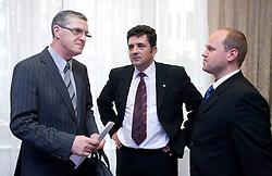 Leo Kremzar (L), Branko Znidaric and Ales Solar at Meeting of OKS in Grand hotel Union, on March 23, 2009, Ljubljana, Slovenia. (Photo by Vid Ponikvar / Sportida)