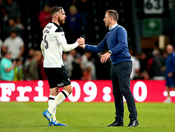 Derby County manager Gary Rowett shakes hands with Richard Keogh of Derby County - Mandatory by-line: Robbie Stephenson/JMP - 15/08/2017 - FOOTBALL - Pride Park Stadium - Derby, England - Derby County v Preston North End - Sky Bet Championship