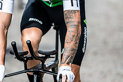 Rider with tattoo of Team Dimension Data (RSA) before stage 2 TTT from Bruxelles to Brussel of the 106th Tour de France, 7 July 2019. Photo by Pim Nijland / PelotonPhotos.com | All photos usage must carry mandatory copyright credit (Peloton Photos | Pim Nijland)