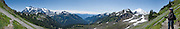 Mt. Shuksan (left, 9127 feet elevation, in North Cascades National Park) and Mount Baker (right 10,781 feet elevation) are seen from the Chain Lakes Loop Trail here in Mount Baker Wilderness, in the North Cascades mountains of Washington.